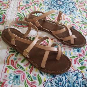 Mossimo nude pink leather sandals Size 8